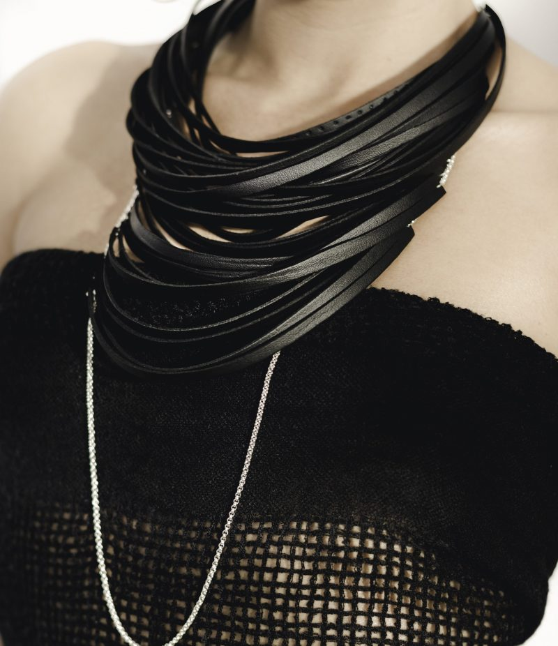 Leather long necklace