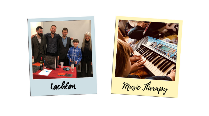 Photo of Lachlan with Trio HLK and Lachlan's Music Therapy Sessions.
