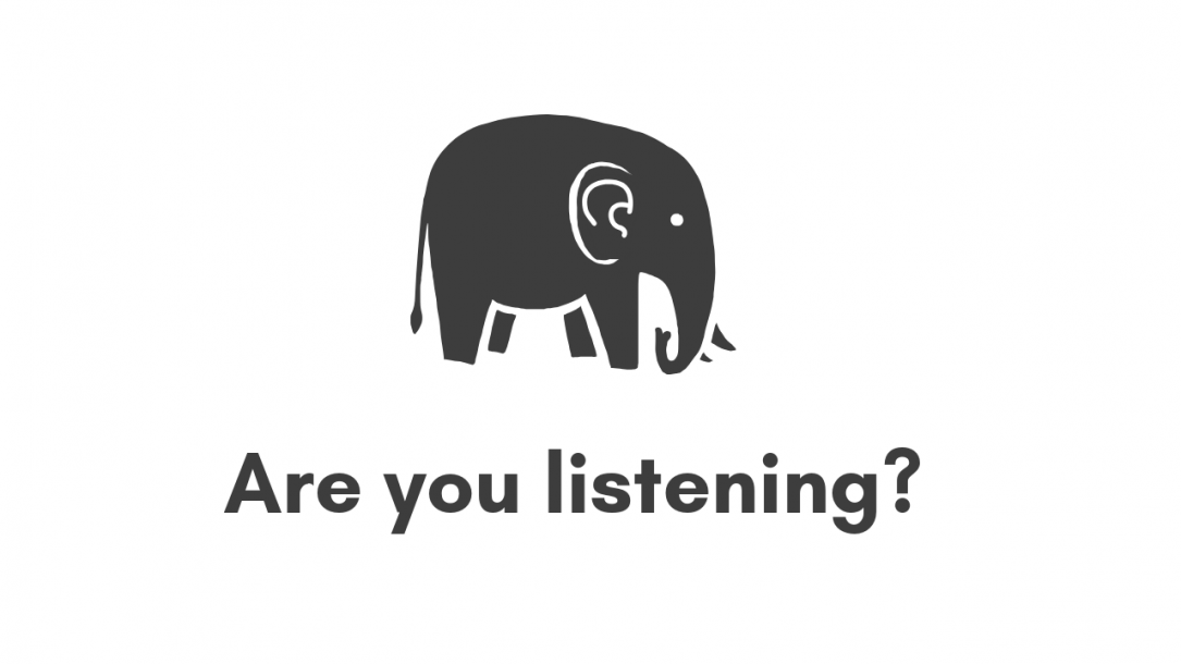 """World Elephant Day Artwork with the quote """"Are You Listening?"""""""